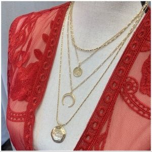 Jewelry - Gold Tone Hammered Layered Necklace